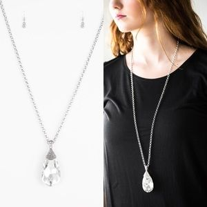 Long Teardrop Diamond Necklace Set